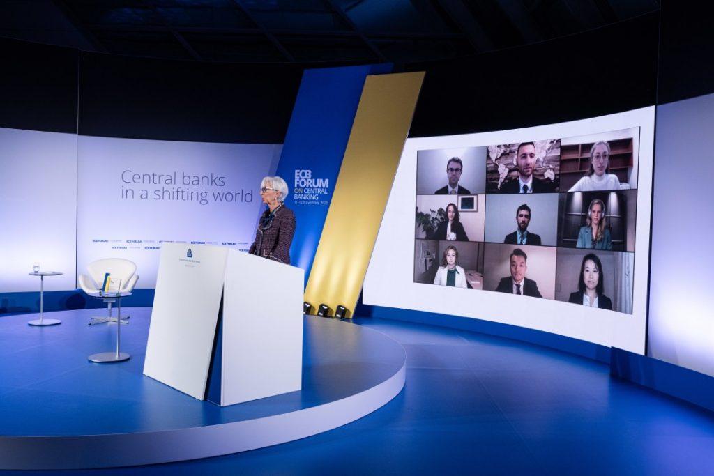 Christine lagarde on podium ECB Forum on Central Banking 2020 hybrid event TC Group